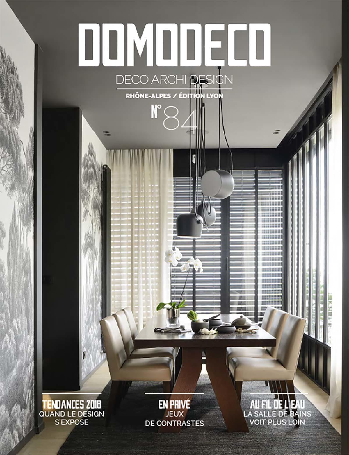 Parution presse Domodeco, octobre 2018. Claude Cartier décoration architecte d'intérieur à Lyon
