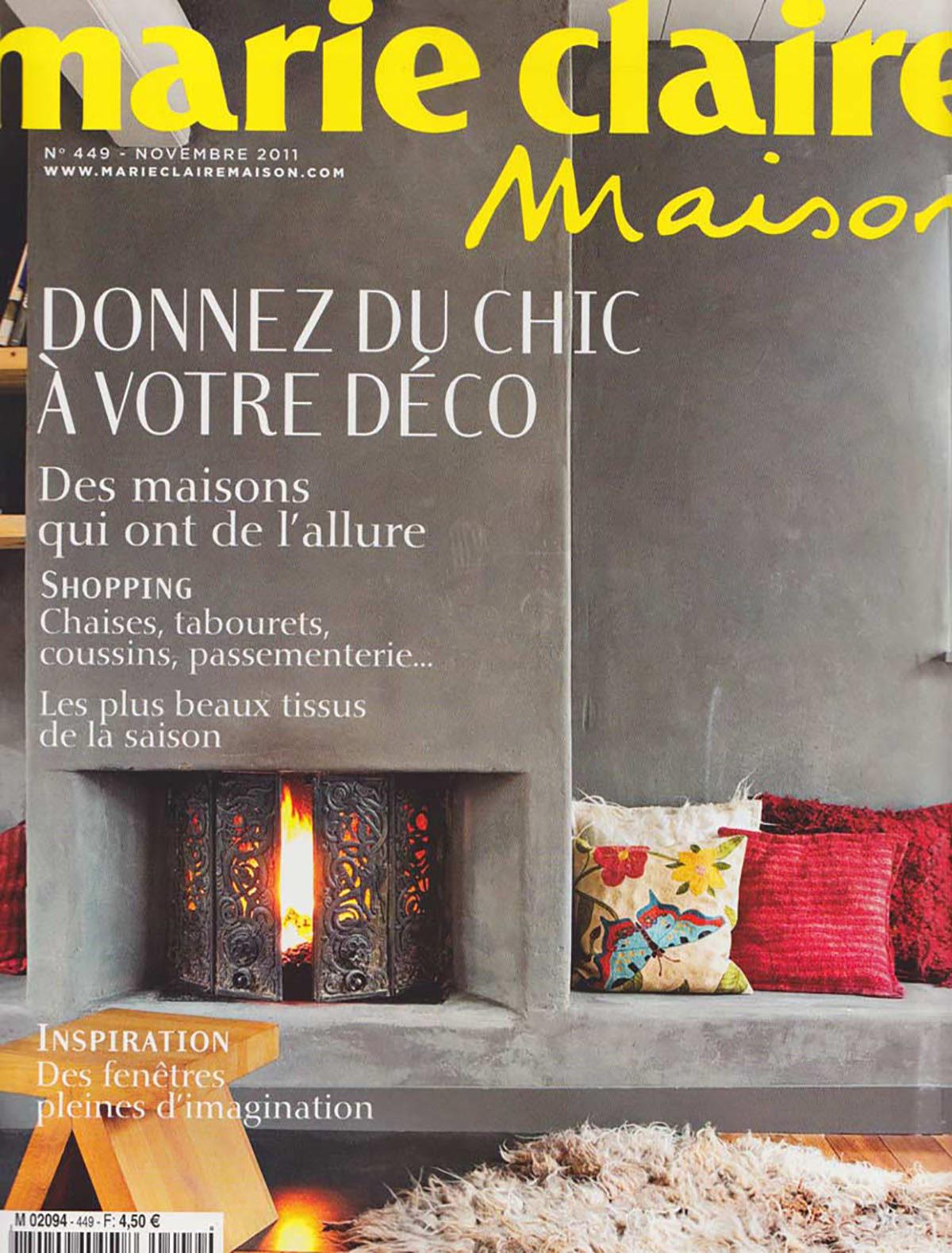 Parution presse MARIE CLAIRE MAISON 2011 Claude Cartier décoration architecte d'intérieur à Lyon.