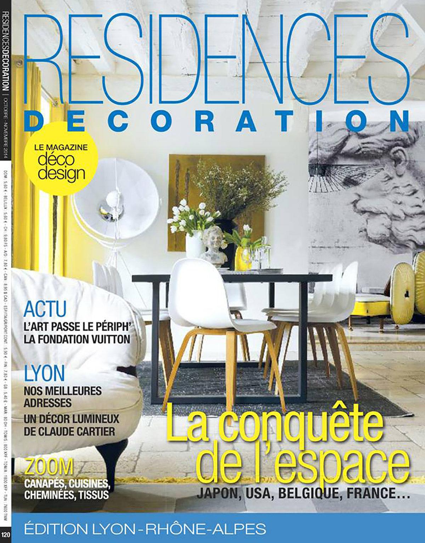 Parution presse RÉSIDENCES DÉCORATION 2014 Claude Cartier décoration architecte d'intérieur à Lyon.