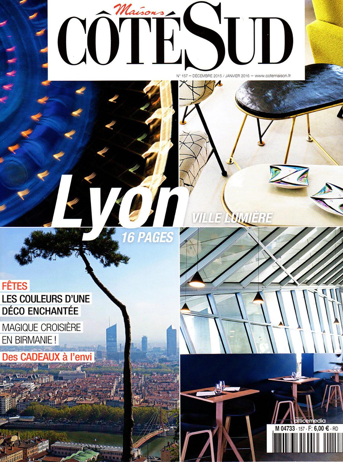 Parution presse CÔTÉ SUD SPÉCIAL LYON 2015 Claude Cartier décoration architecte d'intérieur à Lyon.