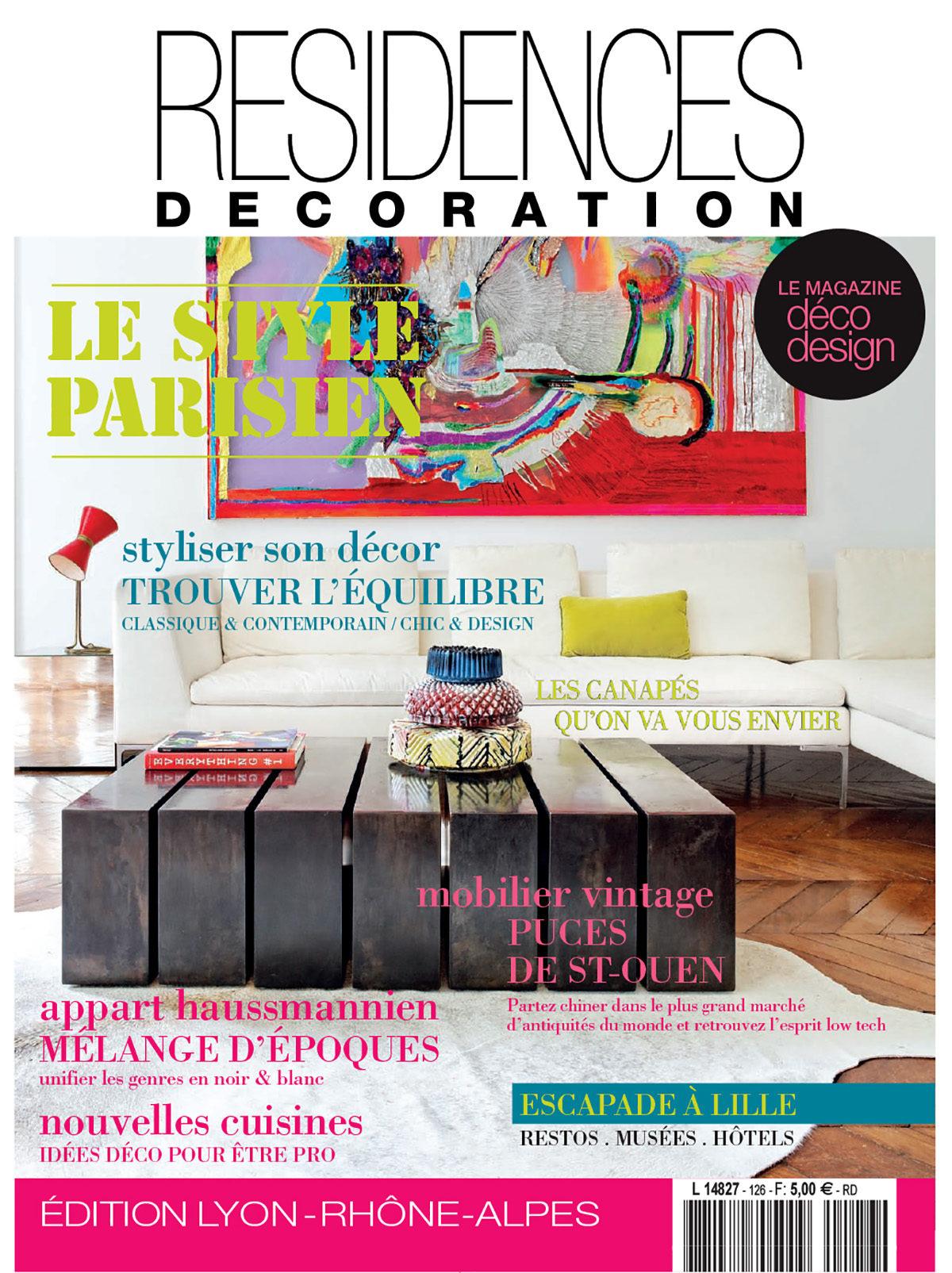 Parution presse RÉSIDENCES DECORATION 2015 Claude Cartier décoration architecte d'intérieur à Lyon.