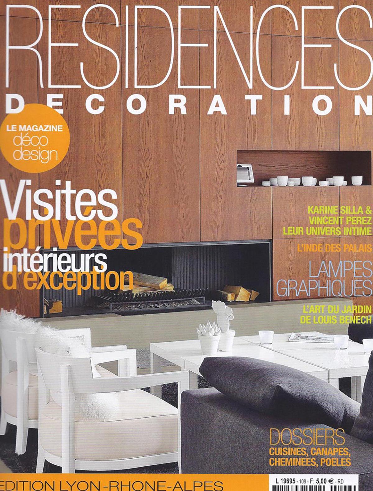 Parution presse RESIDENCES DÉCORATION 2012 Claude Cartier décoration architecte d'intérieur à Lyon.