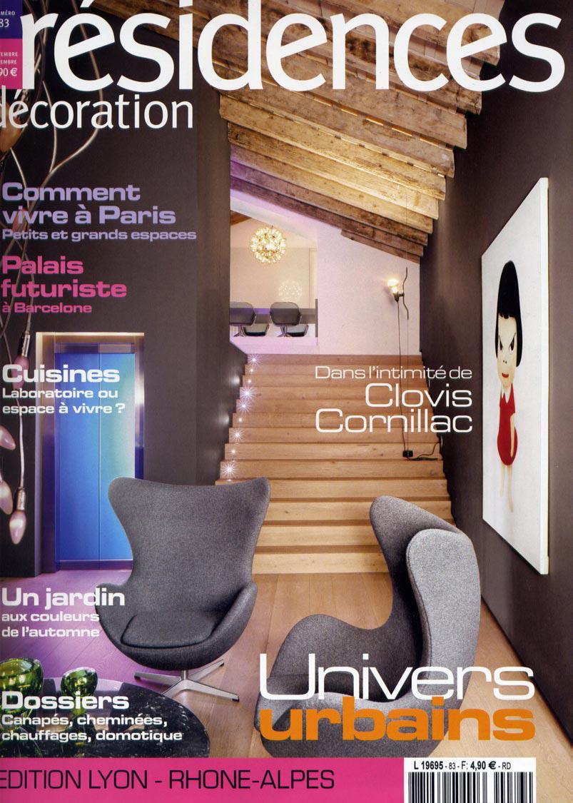 Parution presse RÉSIDENCES DÉCORATION 2008 Claude Cartier décoration architecte d'intérieur à Lyon.