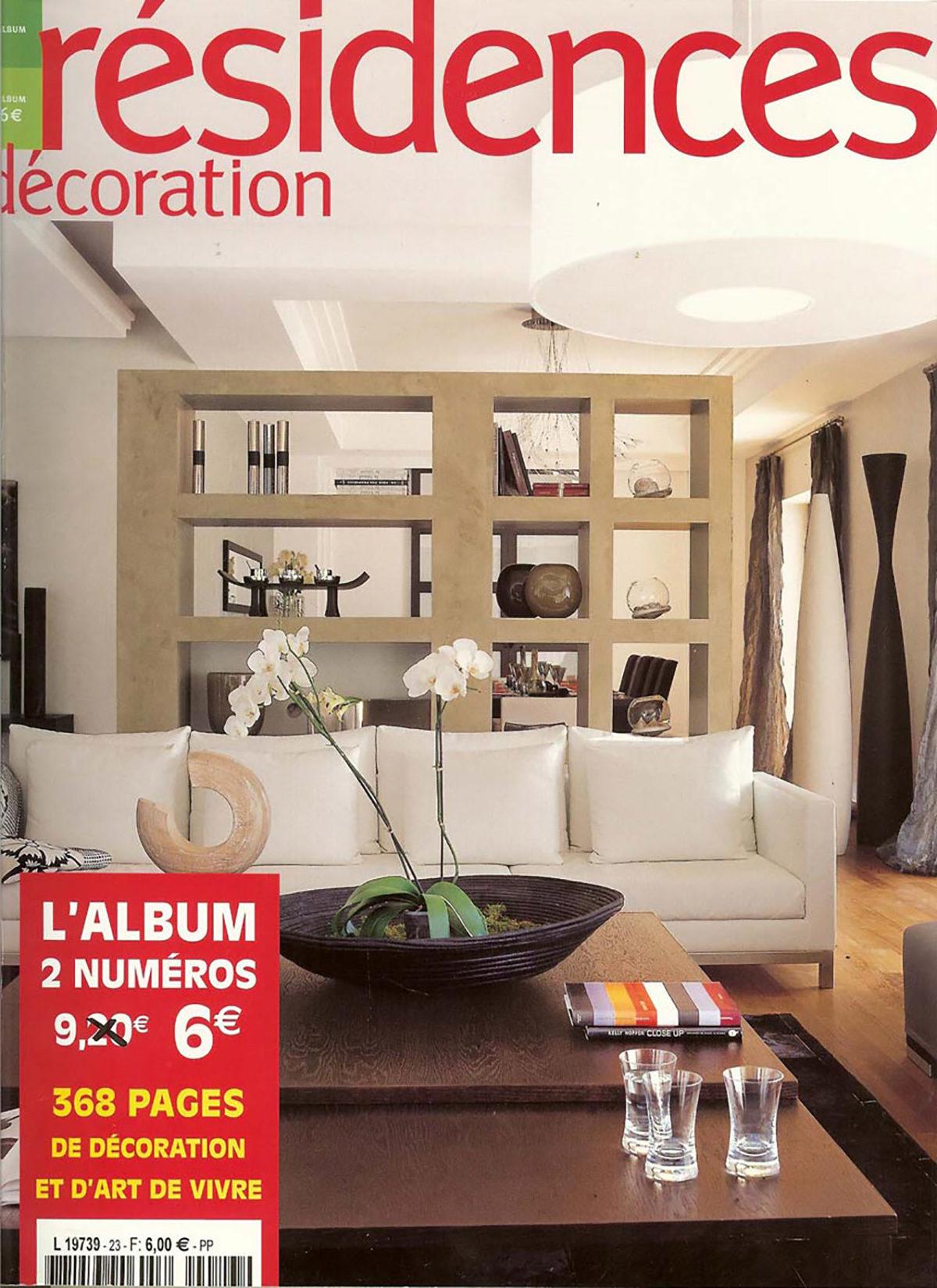 Parution presse RÉSIDENCES DÉCORATION 2004 Claude Cartier décoration architecte d'intérieur à Lyon.